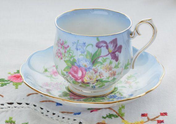 Royal Albert bone china tea cup and saucer/ blue by VieuxCharmes