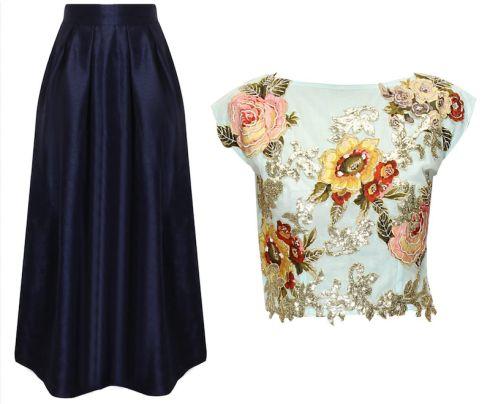 Mehendi outfits under 25k Eshaani Jayaswal floral crop top with Nitya Bajaj maxi skirt blue skirt and top on mehendi