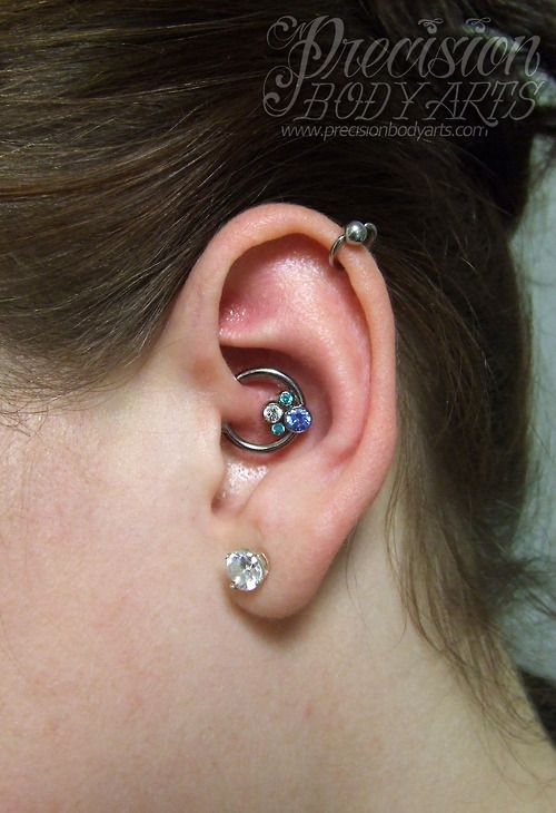 Anatometal gem cluster in daith piercing | Tattoos and ...