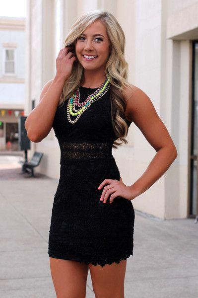 Black Crochet Cut Dress