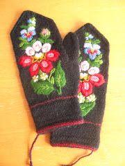 Tvåndsstickade gloves with påsöm Dala Floda