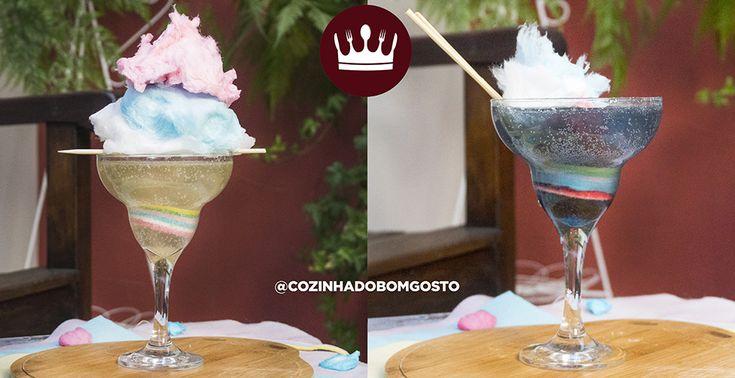 Que tal um drink de algodão doce que muda de cor pra impressionar os amigos?!  Você pode fazer com ou sem álcool, utilizando champanhe ou refrigerante de limão! Saúde!