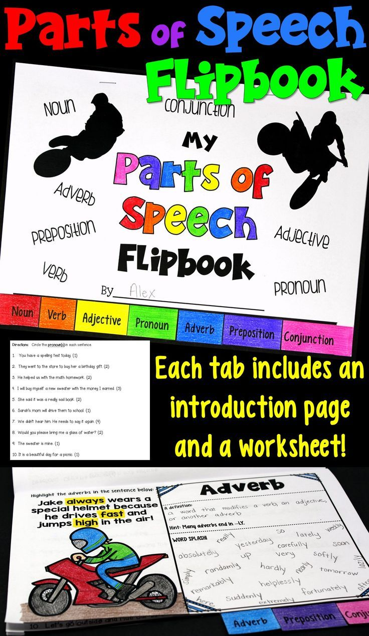 hight resolution of This parts of speech flipbook features seven parts of speech