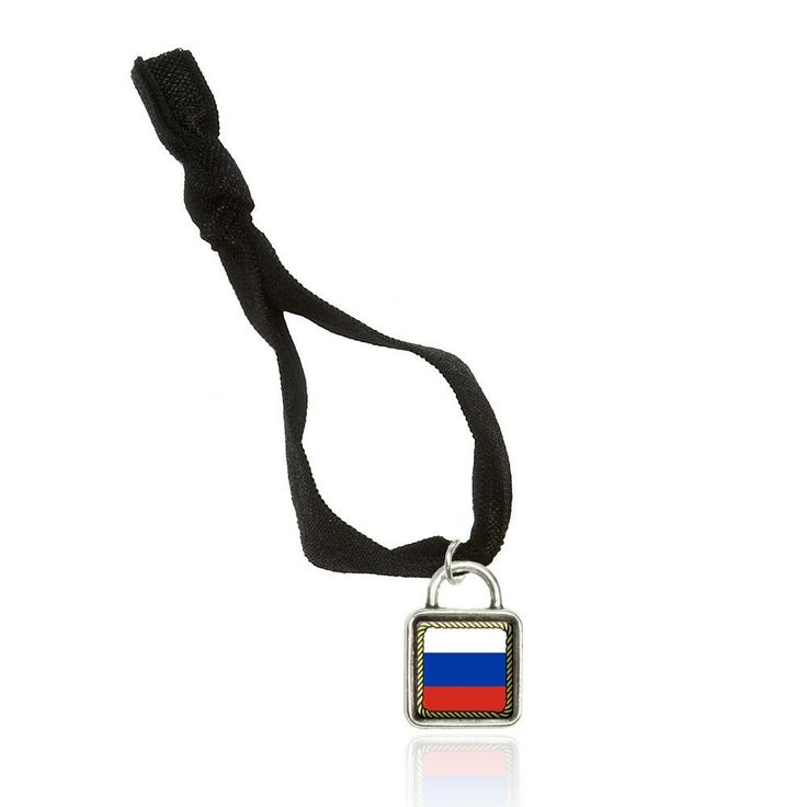 Flag of Russia Bracelet Double Fold Over Stretchy Elastic No Crease Hair Tie with Sqr Charm ** See this great product.