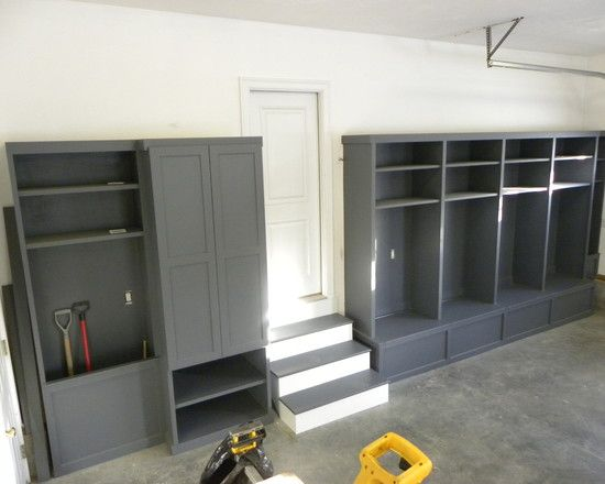 Custom-built storage lockers for garage