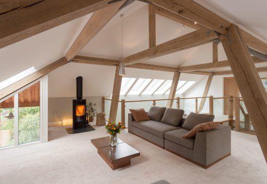 Stunning contemporary oak frame house near Torquay in Devon, UK. By Roderick James Architects | Carpenter Oak Ltd