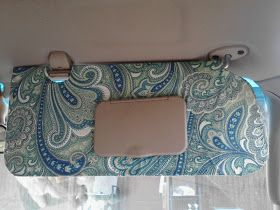 Recover car visor with decorative fabric