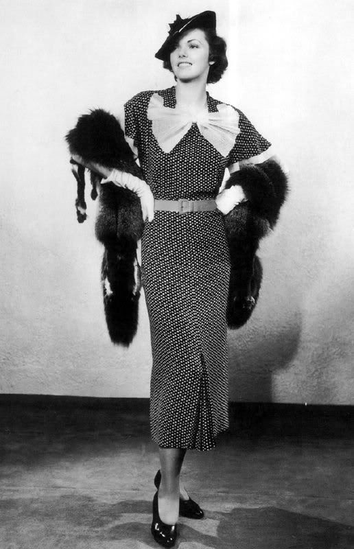 1930's day dress with bow, hat, gloves, and whole fox stole