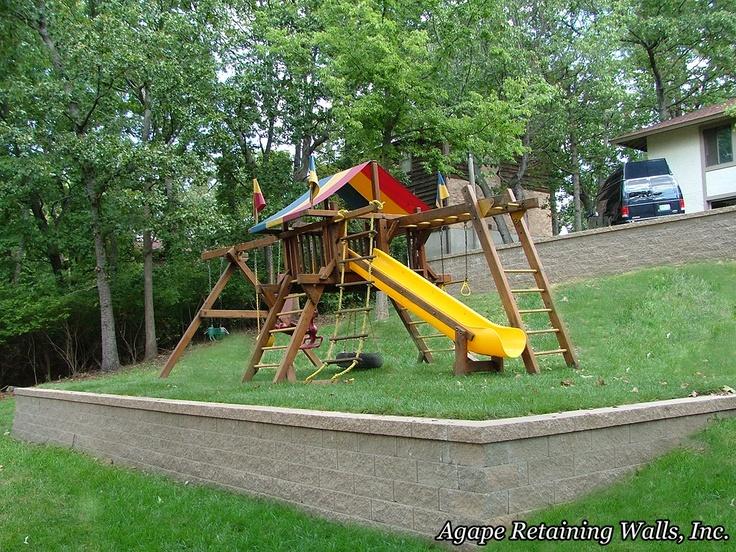 7 best Swing set on slope images on Pinterest | Backyard ... on Unlevel Backyard Ideas id=69523