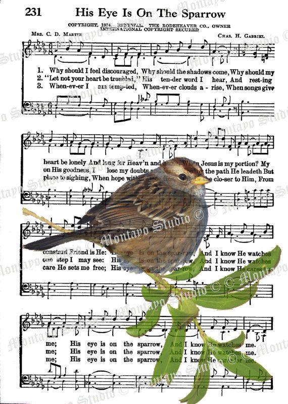 HIS EYE On The Sparrow  Wildlife Nature bird Spiritual Hymn  Song Page  4 x 6  print   F R E E  Shipping