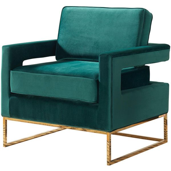 Noah Velvet Accent Chair, Green - Contemporary - Armchairs And Accent... ❤ liked on Polyvore featuring home, furniture, chairs, accent chairs, green chair, contemporary furniture, classic modern chairs, green arm chair and velvet armchair