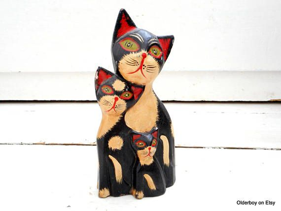3 cats together Wooden figurine wood cat wooden figurine black