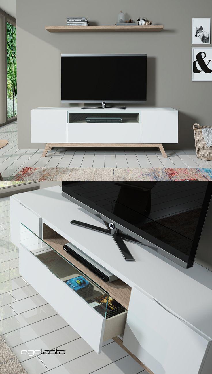 Egelasta · Mueble · Moderno  · Madera · Mobiliario de hogar · Día · Comedor · Tv · Aparador · Roble nórdico y laca blanco
