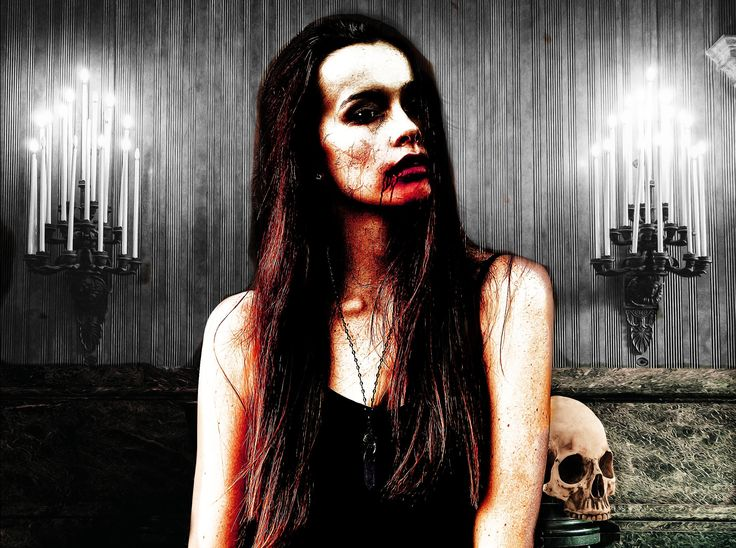 a gothic girl in a scary look with a skull head beside. Naked Horror made with jalada Image Dream