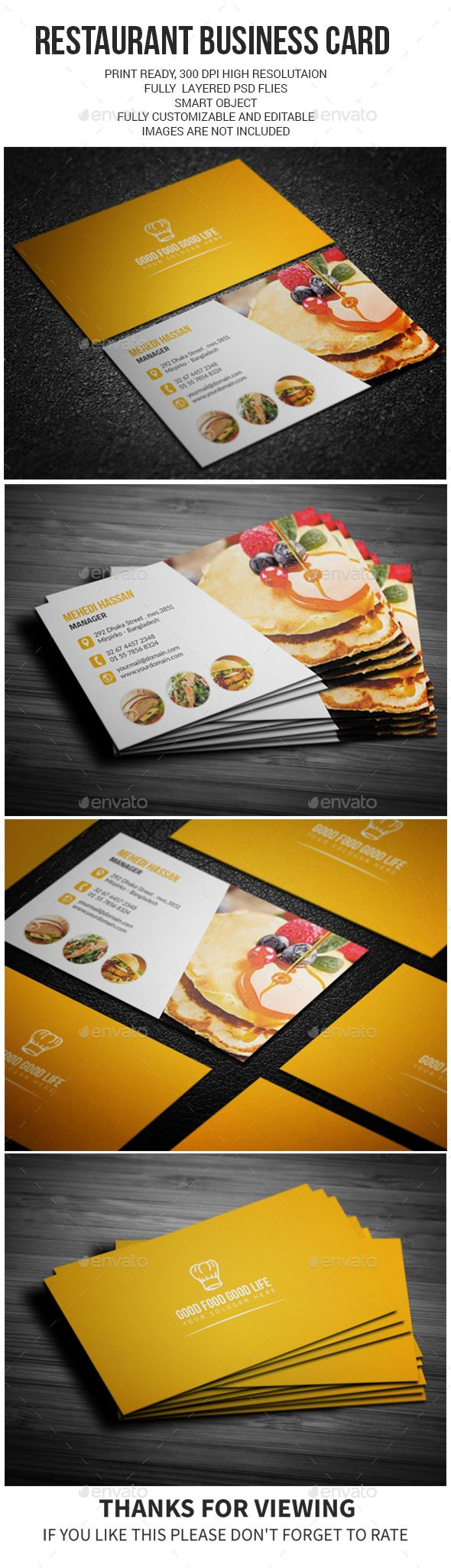 194 best business cards templates images on pinterest corporate restaurant business card template psd design visitcard download httpgraphicriver wajeb Choice Image