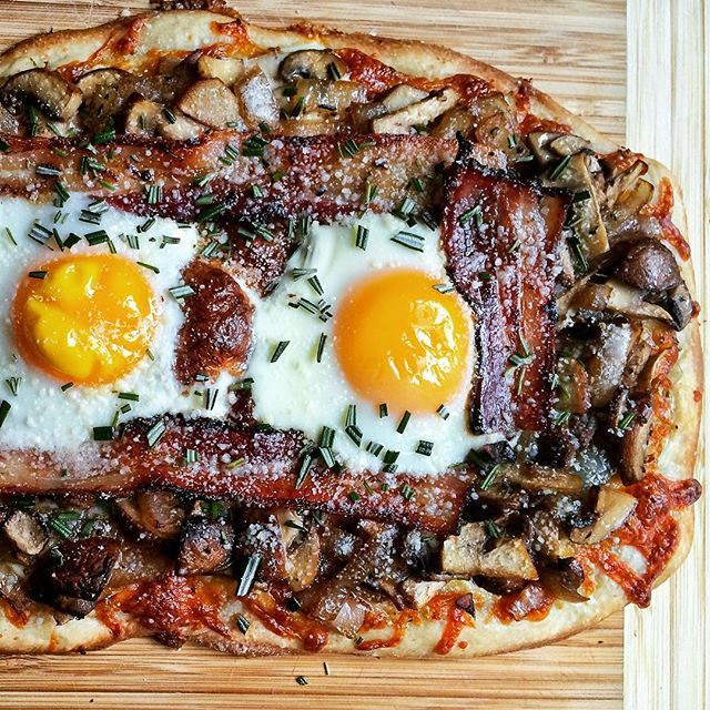 Breakfast Pizza With Creme Fraiche,eggs, Rosemary, Bacon, And Mushrooms.