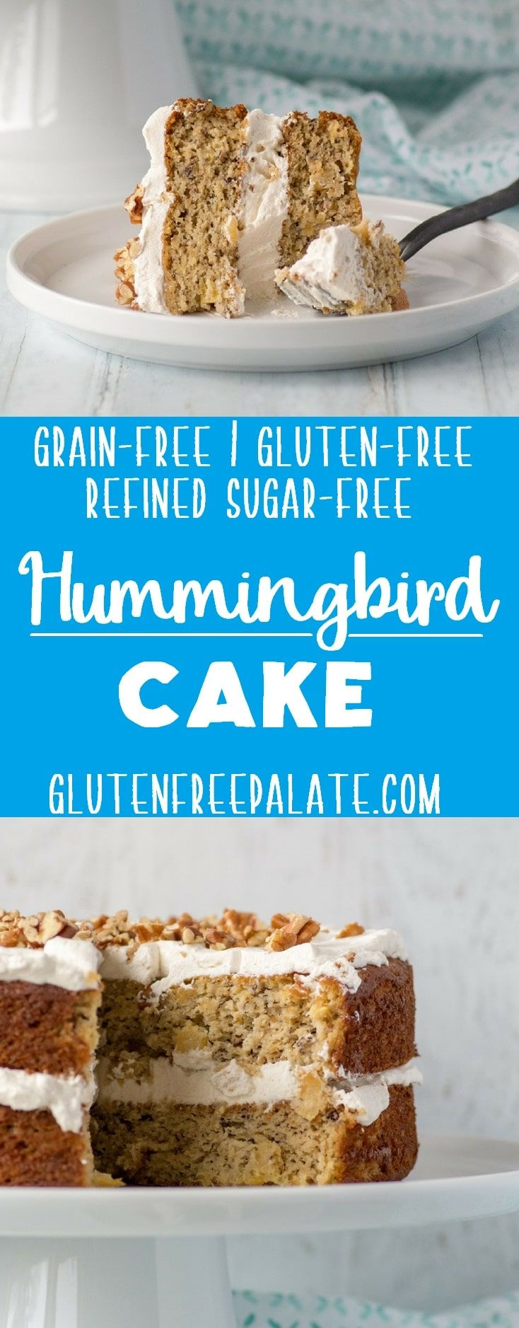 Grain-Free Hummingbird Cake that's tender, perfectly sweet, and naturally gluten-free, dairy-free, and refined sugar-free.   via @gfpalate