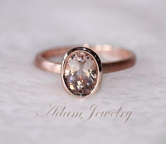 New Bezel Oval 6x8mm VS Morganite Ring14K Rose Gold Wedding Ring /Engagement Ring/ Promise Ring/ Anniversary Ring