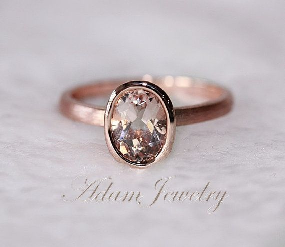 New Bezel Oval 6x8mm VS Morganite Ring14K Rose Gold by AdamJewelry, $239.00