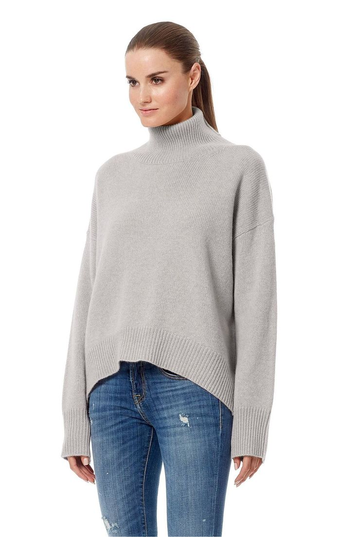"Effortlessly chic, this turtleneck sweater is cozy and warm for fall. Detailed with ribbed trims in a relaxed bodice. Dropped shoulders.                                                                Fabric: 100% cashmere.                                           Fit: True to size. Model is wearing size small.             Model Measurements: height: 5'11 / bust: 34"" / waist: 24"" / hips: 35""."