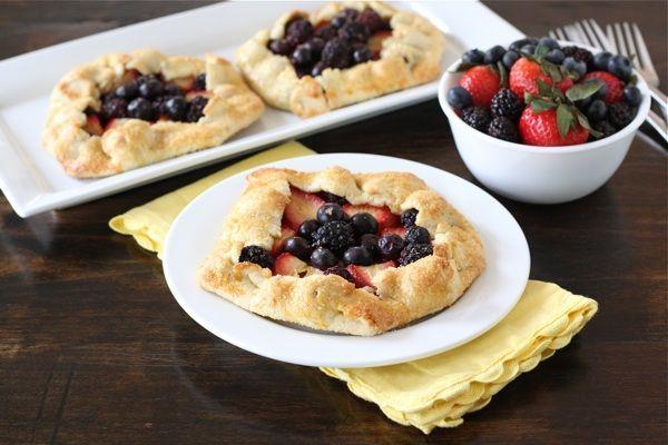 mixed-berry-galettes using 1 3/4 cp flour, 1/3 cp sugar, 1/4 cp coarse ...
