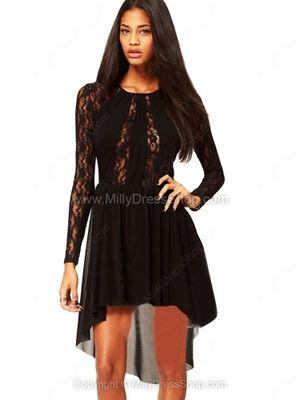 Black Long Sleeve Sheer High Low Lace Dress