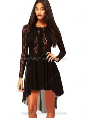 Black Long Sleeve Sheer High Low Lace Dress