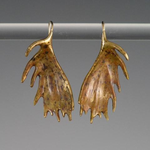 Moose Antler Earrings, Custom Bronze Jewelry, Wildlife Jewelry  LOVE