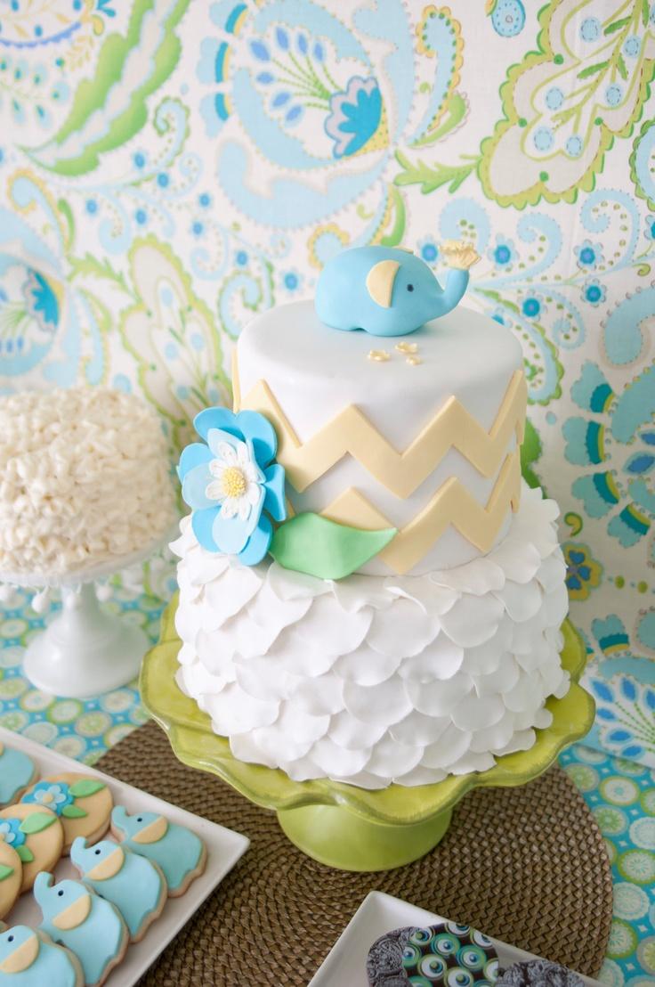 Baby Elephant Chevron Petal Cake