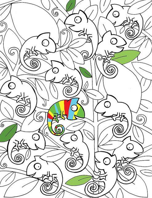 Kameleon kleurplaat om zelf verder in te vullen, zet de plaat rechtsboven bij Flickr op Photo / All sizes / large en je kunt hem groot afdrukken   Sneek Peak by Stella Baggott, via Flickr