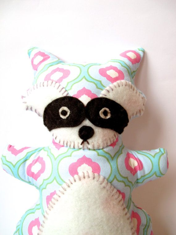 Raccoon Stuffed Animal - Turquoise and PInk - Nursery Decoration