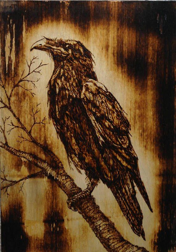 Raven In The Night Sky Woodburnig Pinterest Ravens Night