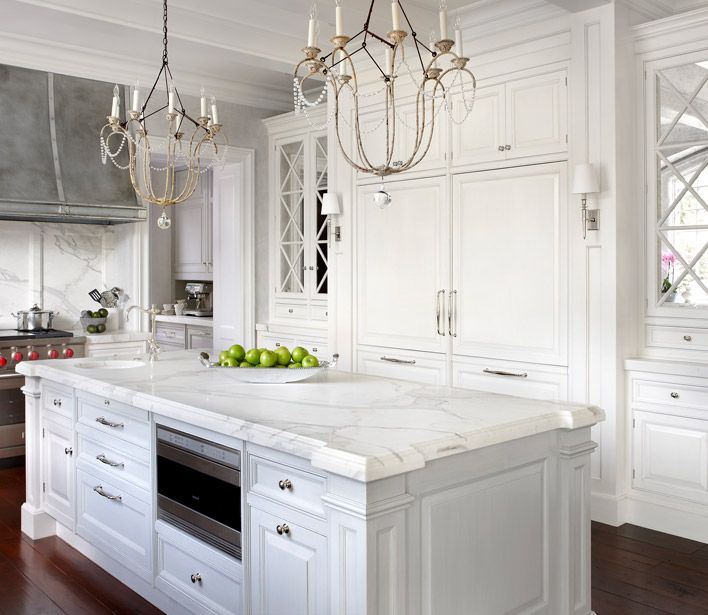 Built In Refrigerator Mirrored Cabinets Chandeliers