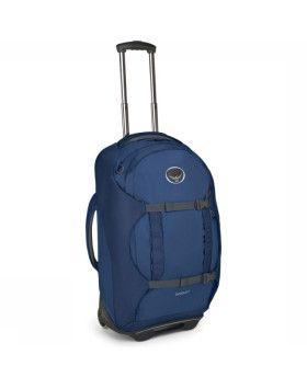 Osprey Trolley Sojourn 60 - Bleu : la joie de l'aventure c'est de ne pas de savoir ce qui nous attend au prochain tournant. Pavés ? Sable ? Escaliers? Vous bénéficieriez de choisir entre rouler ou porter votre sac ? Ce dont vous avez besoin c'est d'un sac de voyage 2 en 1.