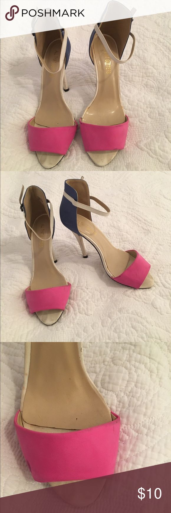 Strapped Color Block Heels ADORABLE pink/blue/white strappy heels.  Not sure what size 37 technically is, but I am a size 8/8.5 and these fit great. -- PREVIOUSLY LOVED -- A few scratches, but there's still a lot of life left in these!  Great for parties or going out - you'll get lots of compliments!!  No smoking / No pets home. All That Glitters Shoes Heels