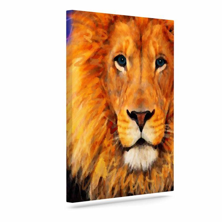 """NL Designs """"Space Lion"""" Purple Orange Canvas Art"""