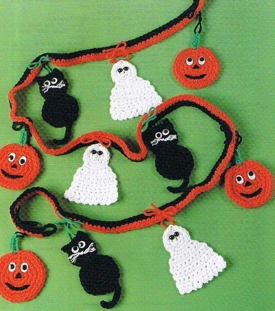 Halloween+Pumpkin+Crochet+Pattern | HALLOWEEN GARLAND Crochet Pattern GHOST, BLACK CAT, PUMPKIN