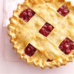 Tart Cherry Lattice Pie Recipe -Whenever my mom is invited to a party or potluck, everyone requests her homemade double-crust fruit pies. In the summer, she uses fresh, tart cherries for this recipe. I love a slice topped with vanilla ice cream. — Pamela Eaton, Monclova, Ohio