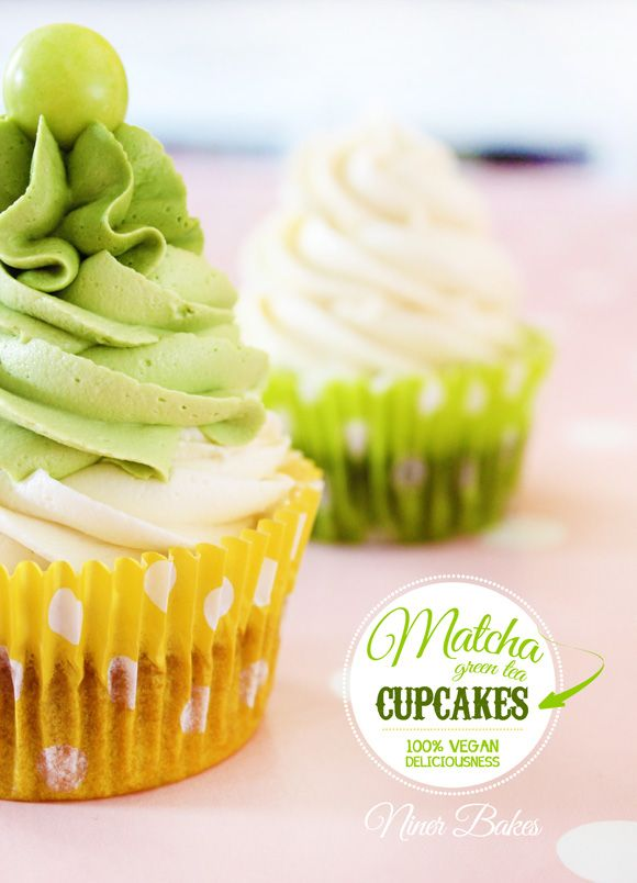 How Matcha Green Can YOU Get?  Green Vegan Matcha Cupcakes with vegan vanilla/matcha  frosting - by niner bakes
