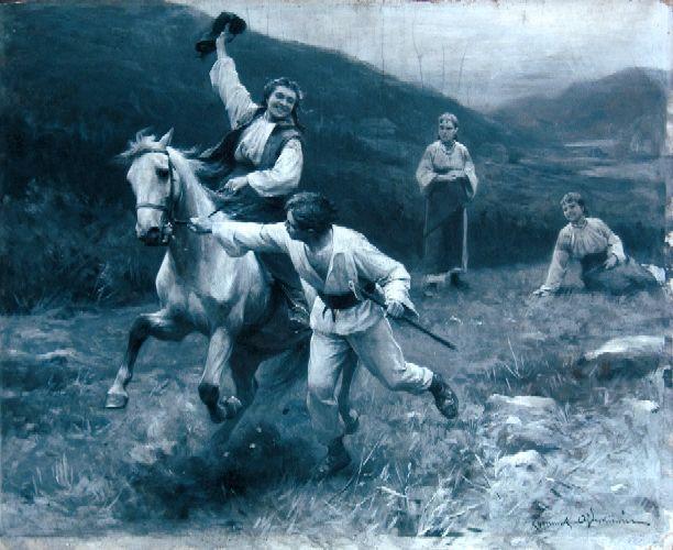 """Zygmunt Ajdukiewicz """"Zaloty"""", przed 1898, olej na tekturze en grisaille, 32 x 39,5 cm, własność prywatna"""