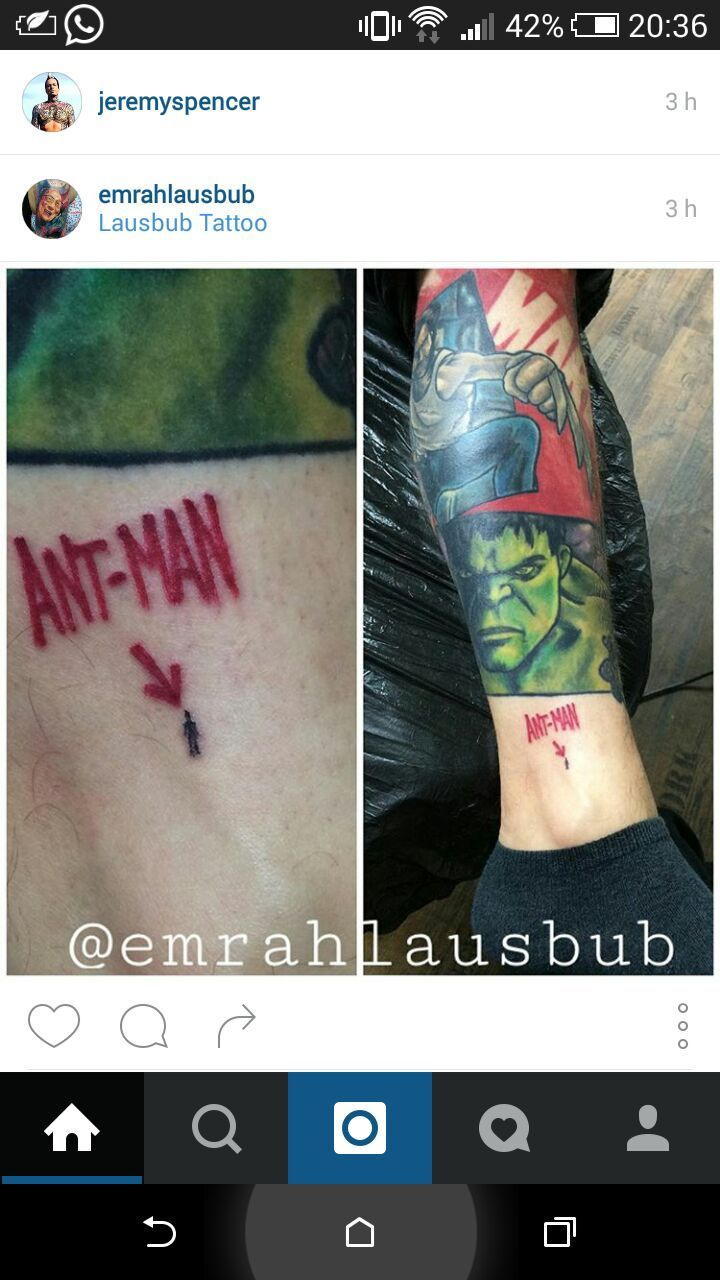 Ant-Man added to an existing Marvel Tattoo