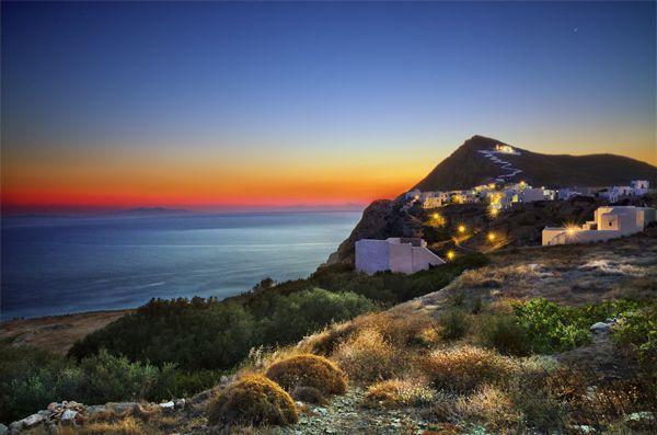 View of Chora by night in Folegandros island