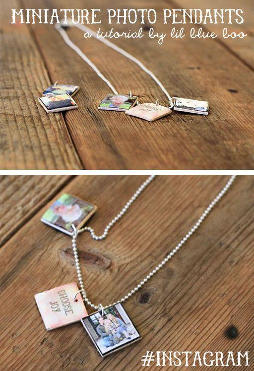 How to Make Miniature Photo Pendants using jumbo Popsicle sticks & instagram pics! Love!