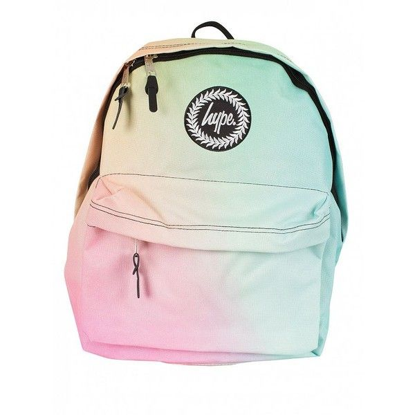 Hype Multi Pastel Gradient Fade Logo Backpack found on Polyvore featuring bags, backpacks, day pack backpack, pastel bag, rucksack bags, daypack bag and green backpack