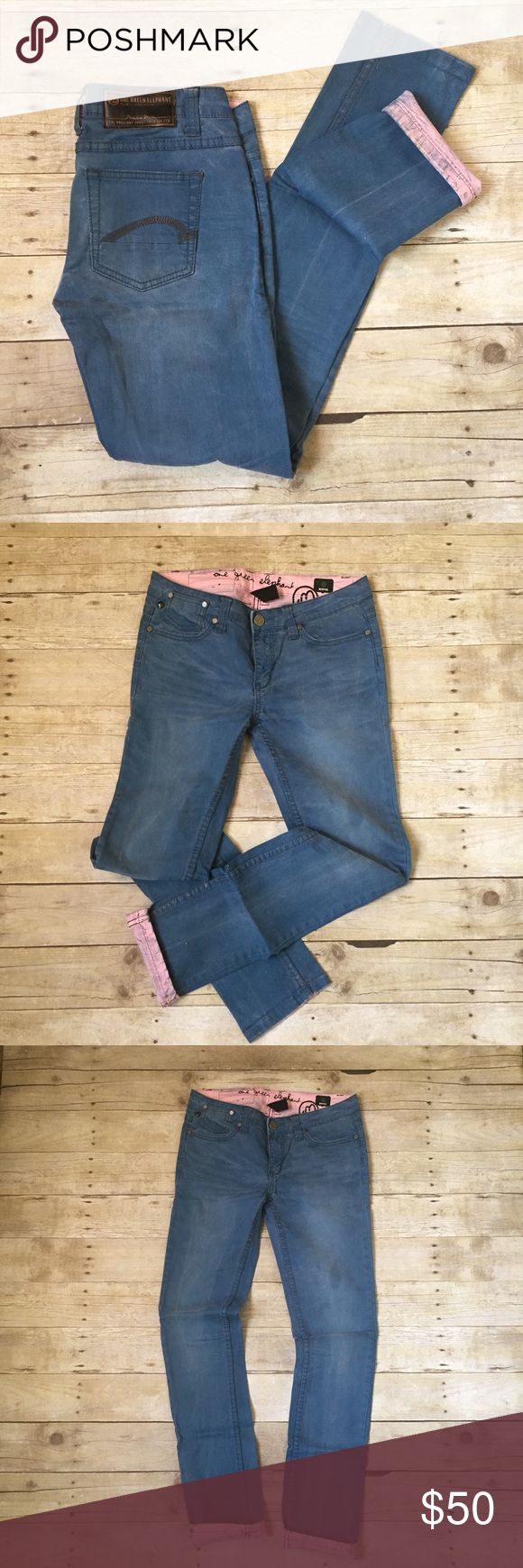 """One Green Elephant   Blue Pink Rock Chic Jeans EUC. Worn once. Premium denim, very sturdy Jean and skinny leg fit. Not actual jeans in photo, but picture is an idea of fit. Instead is pink. Exterior has a blue with pinkish tint. Tag style is """"Memphis. US size 8/UK size 14. I think these run small as I normally wear a 6. Please check dimensions before purchase. Waist laying flat is 16.5"""". Inseam is 33"""". Rise is 7.5"""". Middle of the thigh is 8.75"""". 98% cotton, 2% elastane. These have just a…"""
