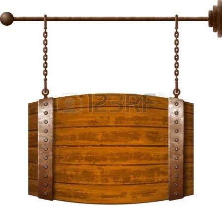 enforcamento: Barrel tabuleta de madeira em forma de correntes enferrujadas