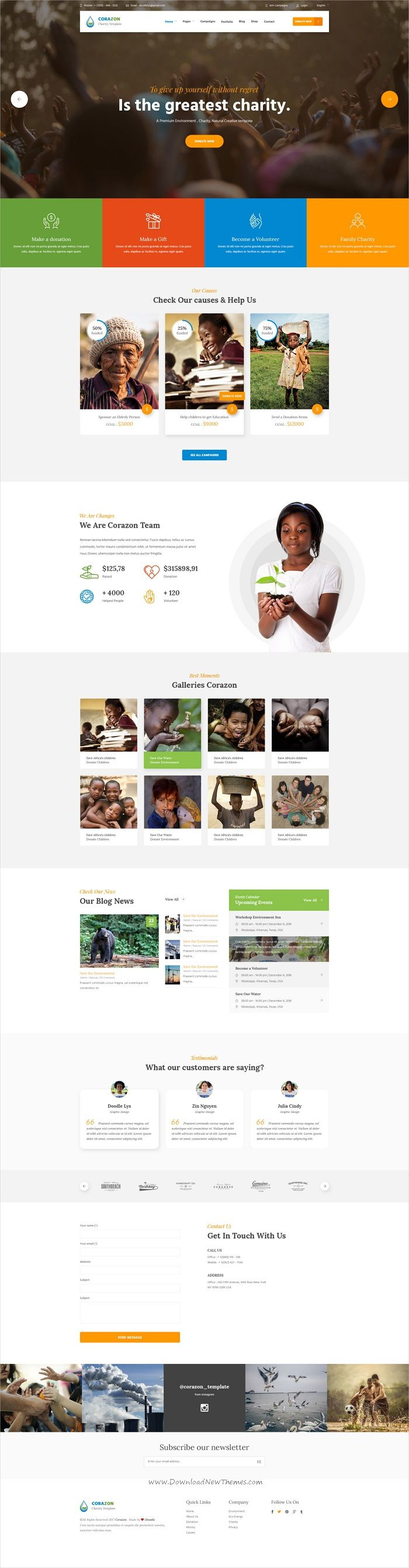 Corazon is a wonderful #PSD template for environment, #charity, non-profit organization, #donation, church or fundraising website with 18+ layered PSD files download now➩ https://themeforest.net/item/corazon-multi-concept-environment-charity-green-energy-nonprofit-psd-template/19535858?ref=Datasata