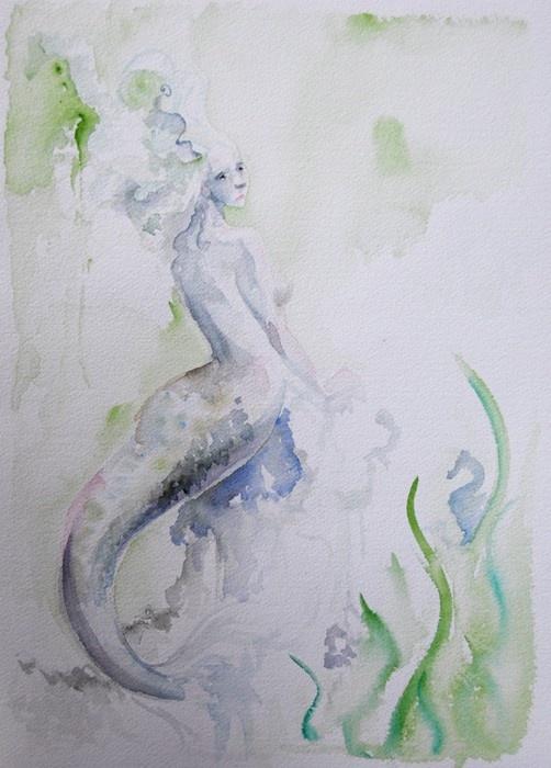 mermaid watercolor art | photos and art | Pinterest