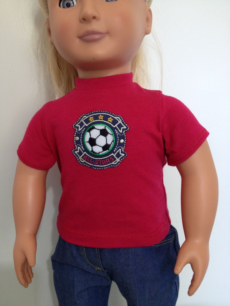 Cotton t-shirt with soccer emblem for 18in dolls boys and girls by TangledKat on Etsy
