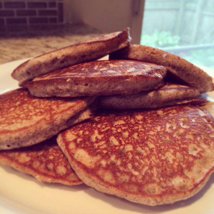 Buckwheat Pancakes. Ingredients: buckwheat flour, sea salt, homemade baking powder, sugar, allowed milk, egg, butter, vanilla